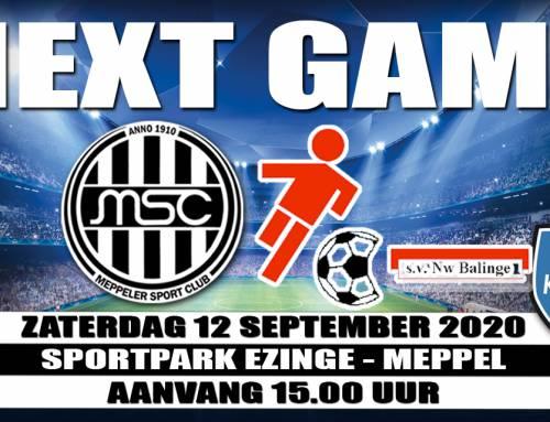 Zaterdag bekerwedstrijd MSC-Nieuw Balinge, registreren opnieuw verplicht !